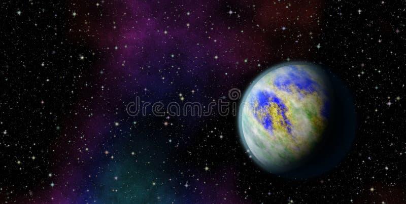 Μυστήριος, άγνωστος πλανήτης στον κόσμο Ζωή μεταξύ των αστεριών Πανοραμικό να εξετάσει βαθύ διάστημα απεικόνιση αποθεμάτων