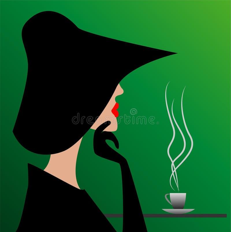 Μυστήριος ξένος σε ένα μαύρο καπέλο διανυσματική απεικόνιση