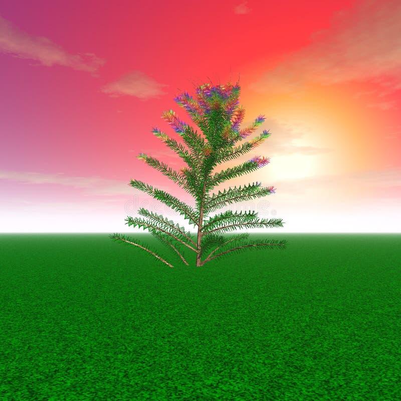Μυστήριο δέντρο σε ένα καθάρισμα σε ένα υπόβαθρο ηλιοβασιλέματος διανυσματική απεικόνιση