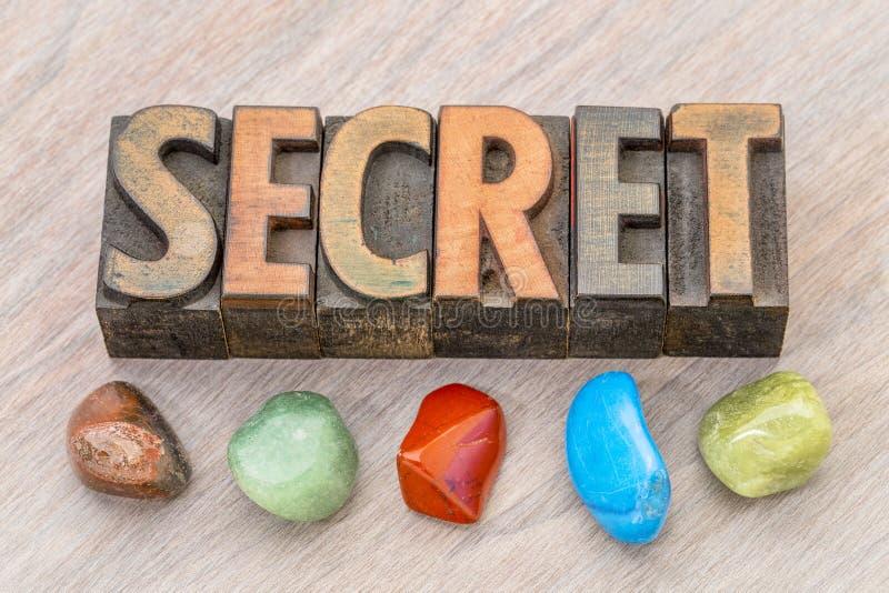Μυστική περίληψη λέξης στον ξύλινο τύπο στοκ εικόνες