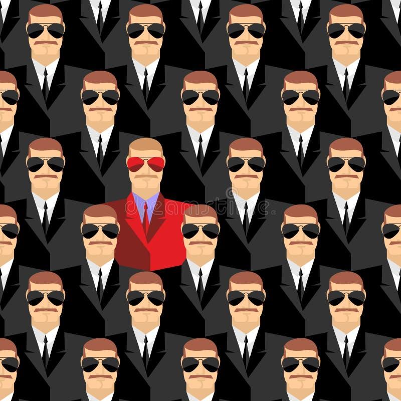 Μυστικοί πράκτορες Ένας κατάσκοπος μεταξύ των πρακτόρων Άνευ ραφής σχέδιο pepople ελεύθερη απεικόνιση δικαιώματος