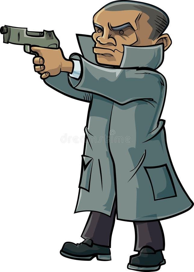 Μυστικός πράκτορας κινούμενων σχεδίων με ένα παλτό και ένα πυροβόλο όπλο τάφρων διανυσματική απεικόνιση