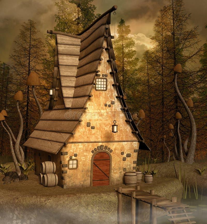 Μυστικό σπίτι στο misty δάσος διανυσματική απεικόνιση