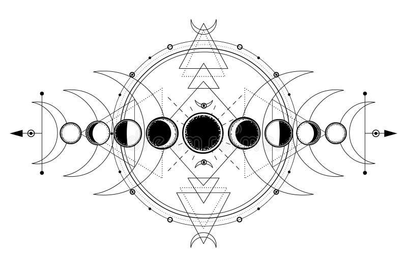 Μυστικό σχέδιο: φάσεις του φεγγαριού, ενεργειακοί κύκλοι γεωμετρία ιερή ελεύθερη απεικόνιση δικαιώματος