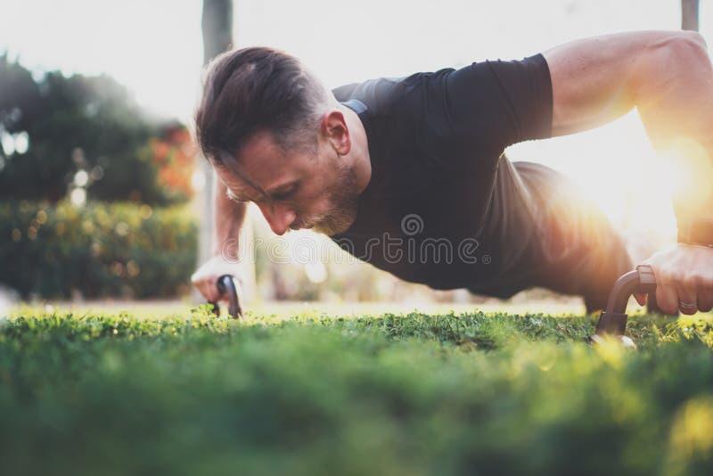 Μυϊκός αθλητής που ασκεί την ώθηση επάνω στο εξωτερικό στο ηλιόλουστο πάρκο Κατάλληλο πρότυπο ικανότητας γυμνοστήθων αρσενικό στη