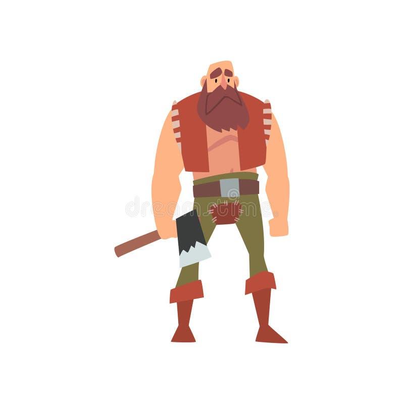 Μυϊκός βάρβαρος πολεμιστής με το τσεκούρι, μεσαιωνικός ιστορικός χαρακτήρας κινουμένων σχεδίων στην παραδοσιακή διανυσματική απει διανυσματική απεικόνιση