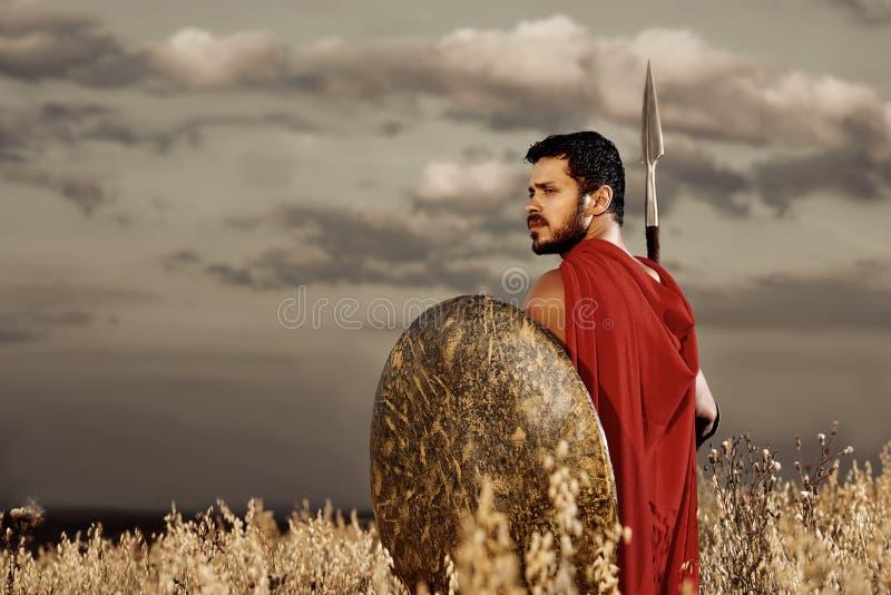 Μυϊκός μεσαιωνικός πολεμιστής που στέκεται στον τομέα στοκ εικόνες με δικαίωμα ελεύθερης χρήσης