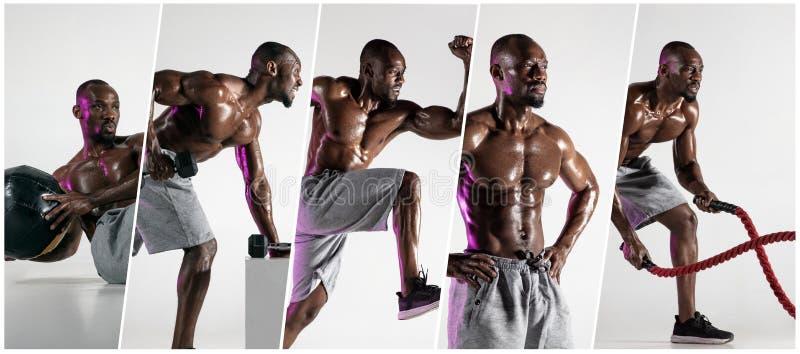 Μυϊκός νέος αρσενικός αθλητής, δημιουργικό κολάζ στοκ φωτογραφία με δικαίωμα ελεύθερης χρήσης