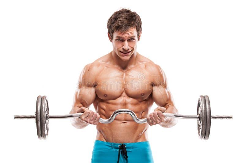 Μυϊκός τύπος bodybuilder που κάνει τις ασκήσεις με τους αλτήρες στοκ εικόνα