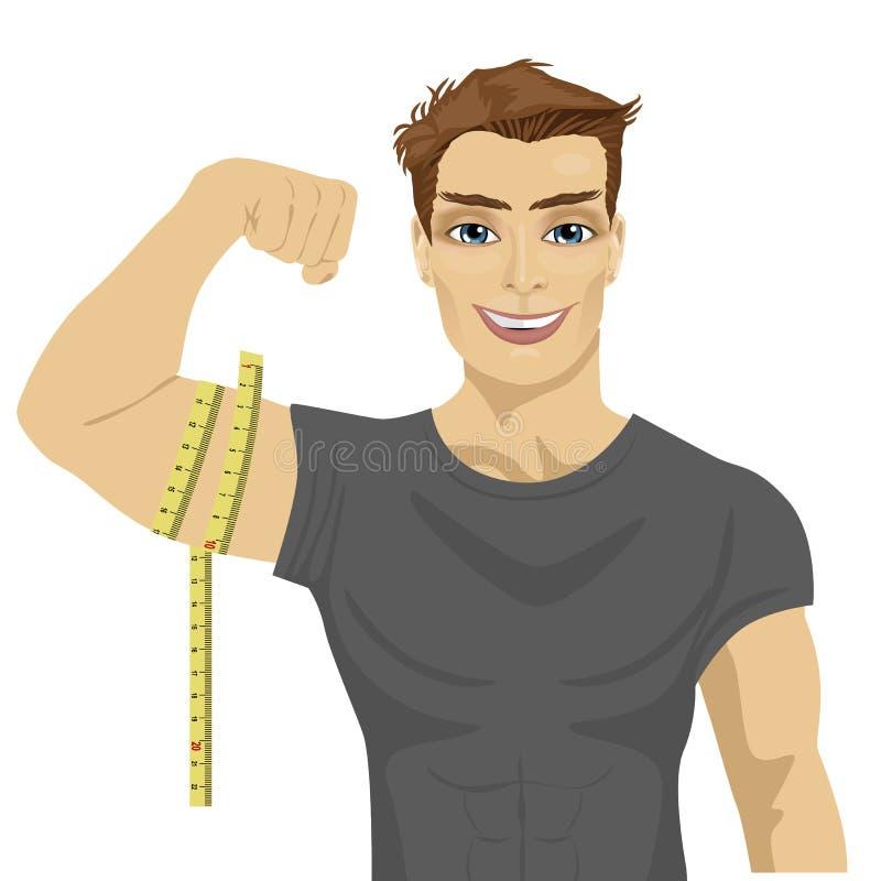 Μυϊκό άτομο που μετρά τους δικέφαλους μυς με το μέτρο ταινιών ελεύθερη απεικόνιση δικαιώματος
