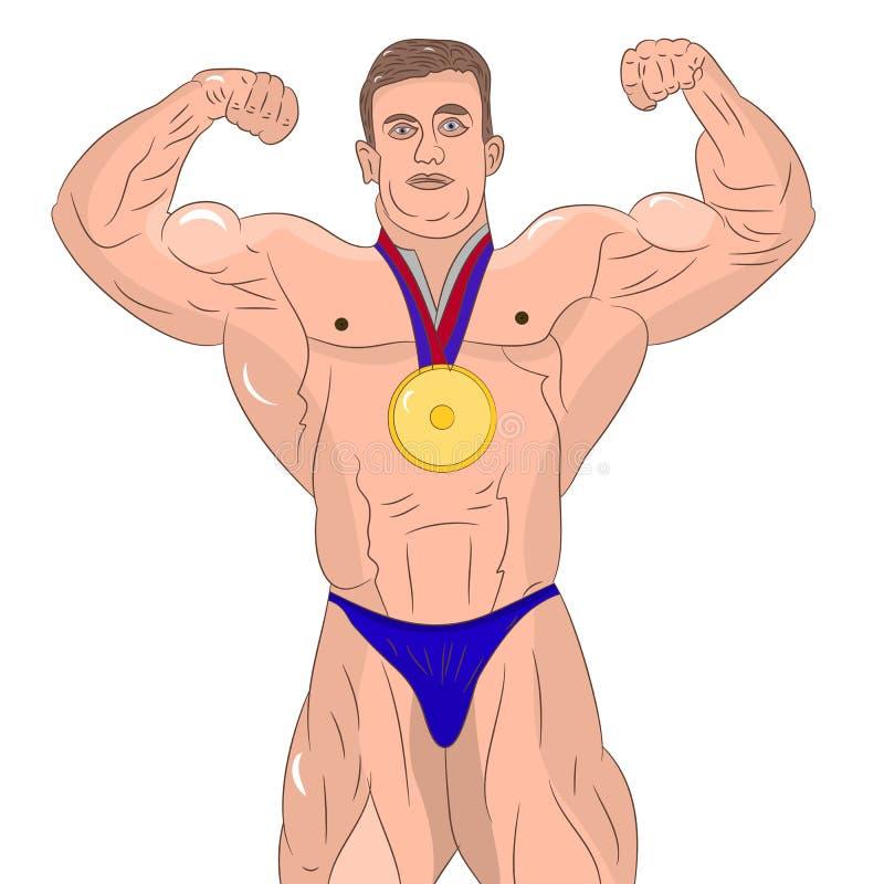 Μυϊκό αρσενικό bodybuilder που παρουσιάζει δικέφαλους μυς Στην άσπρη ανασκόπηση ελεύθερη απεικόνιση δικαιώματος