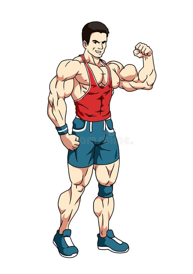 Μυϊκό bodybuilder που παρουσιάζει μεγάλους δικέφαλους μυς ελεύθερη απεικόνιση δικαιώματος