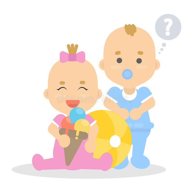 Μωρά που παίζουν υπαίθρια απεικόνιση αποθεμάτων