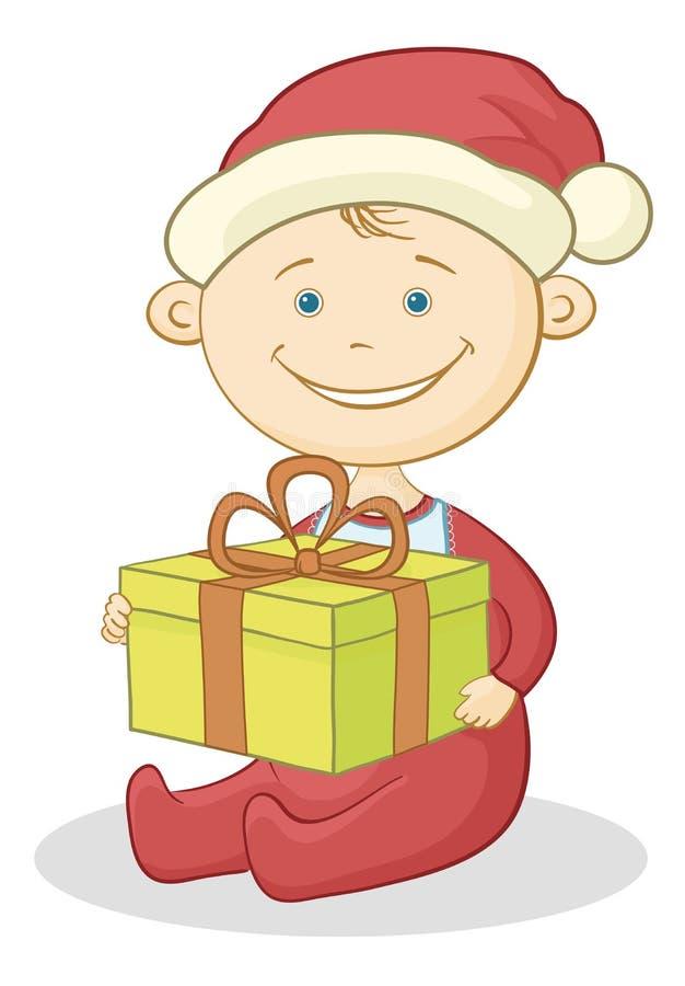 Μωρό Άγιος Βασίλης με ένα κιβώτιο δώρων διανυσματική απεικόνιση