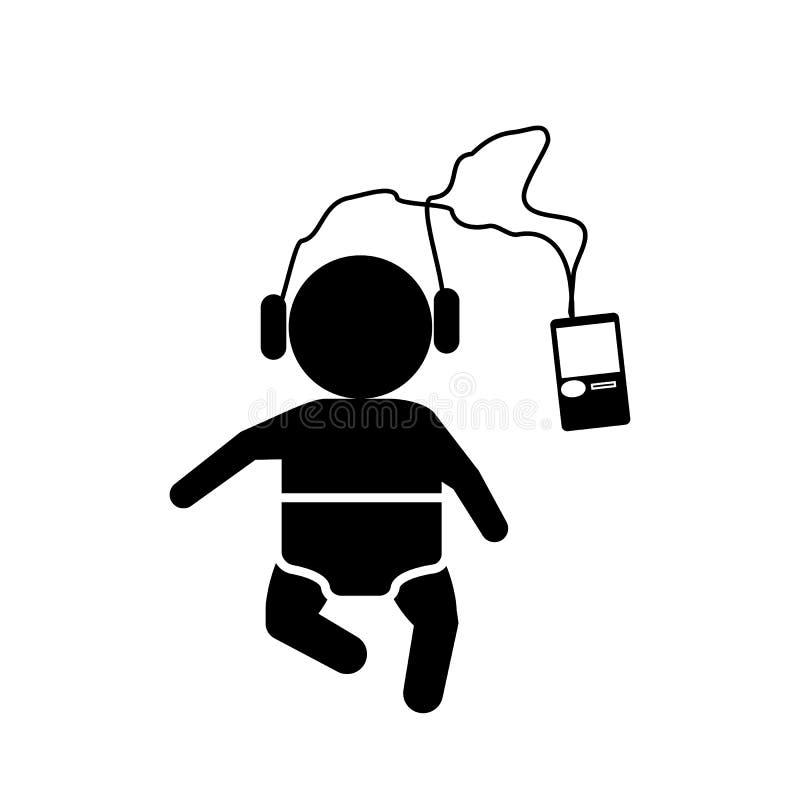 Μωρό, έλεγχος, εικονίδιο ακοής Στοιχείο του εικονιδίου μωρών απεικόνιση αποθεμάτων