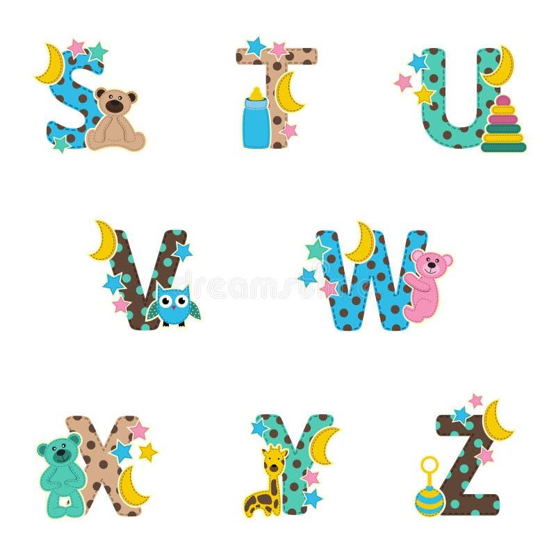 Μωρό αλφάβητου από το S στο Ζ ελεύθερη απεικόνιση δικαιώματος