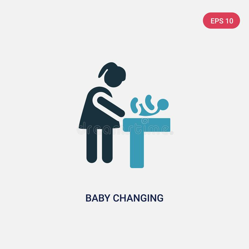 Μωρό δύο χρώματος που αλλάζει το διανυσματικό εικονίδιο από την έννοια ανθρώπων το απομονωμένο μπλε μωρό που αλλάζει το διανυσματ απεικόνιση αποθεμάτων
