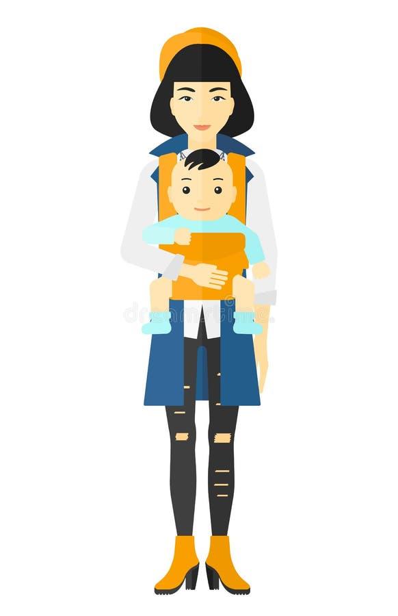 Μωρό εκμετάλλευσης γυναικών στη σφεντόνα διανυσματική απεικόνιση