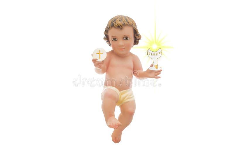 Μωρό Ιησούς, πρώτη ιερή κοινωνία, άσπρο υπόβαθρο στοκ φωτογραφία