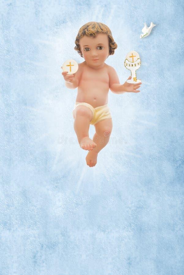 Μωρό Ιησούς, πρώτο ιερό υπόβαθρο κοινωνίας στοκ φωτογραφίες