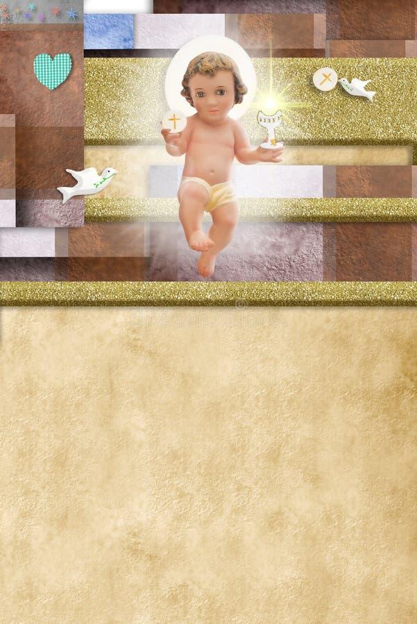 Μωρό Ιησούς, πρώτο ιερό υπόβαθρο κοινωνίας στοκ εικόνα