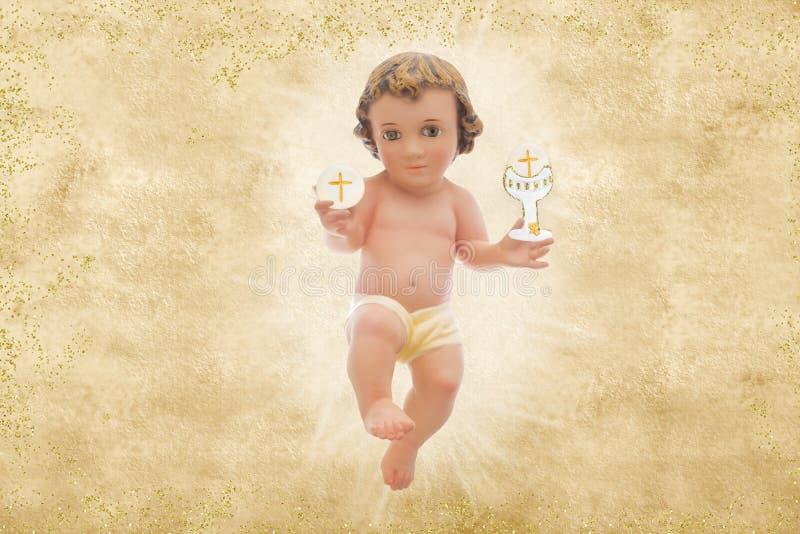 Μωρό Ιησούς, πρώτο ιερό υπόβαθρο κοινωνίας στοκ φωτογραφία