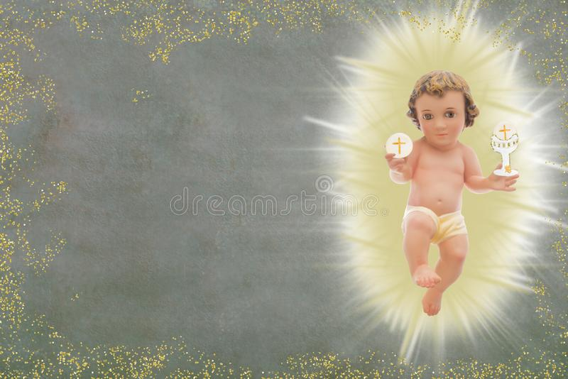 Μωρό Ιησούς, πρώτο ιερό υπόβαθρο κοινωνίας στοκ εικόνα με δικαίωμα ελεύθερης χρήσης