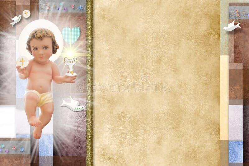 Μωρό Ιησούς, πρώτο ιερό υπόβαθρο κοινωνίας στοκ εικόνες