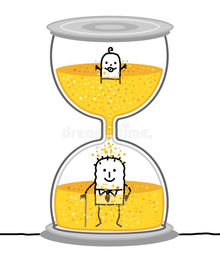 Μωρό και πρεσβύτερος κινούμενων σχεδίων σε μια μεγάλη κλεψύδρα διανυσματική απεικόνιση