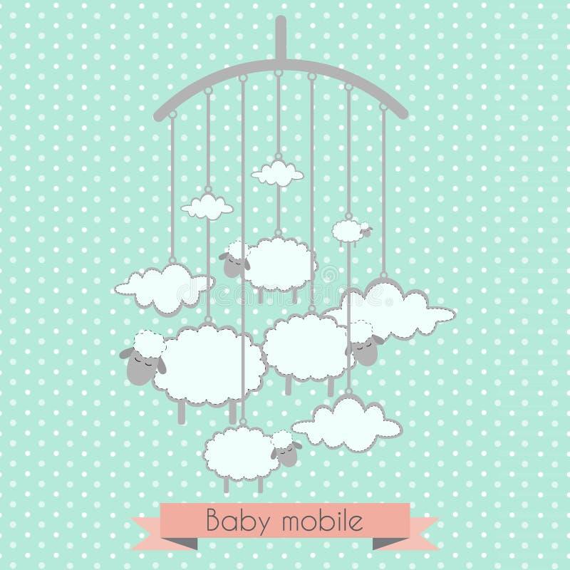 Μωρό κινητό με τα μικρά αρνιά και τα σύννεφα στοκ εικόνες