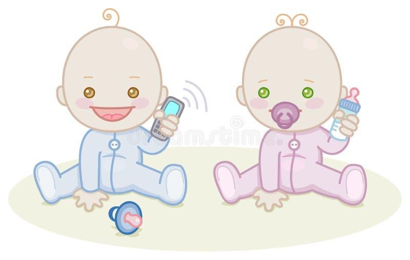 Μωρό με το έξυπνο τηλέφωνο ελεύθερη απεικόνιση δικαιώματος