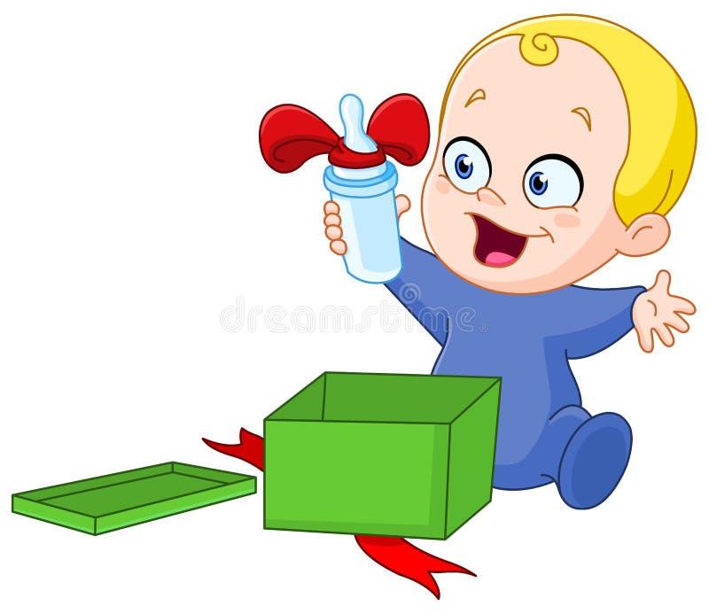 Μωρό με το δώρο Χριστουγέννων ελεύθερη απεικόνιση δικαιώματος
