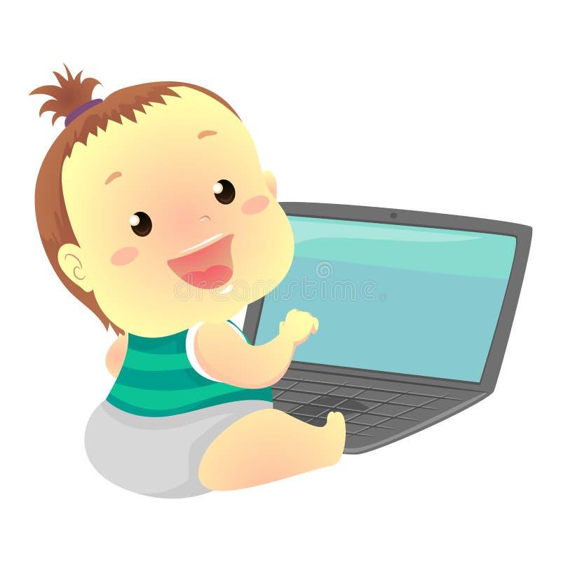 Μωρό μπροστά από το lap-top ελεύθερη απεικόνιση δικαιώματος