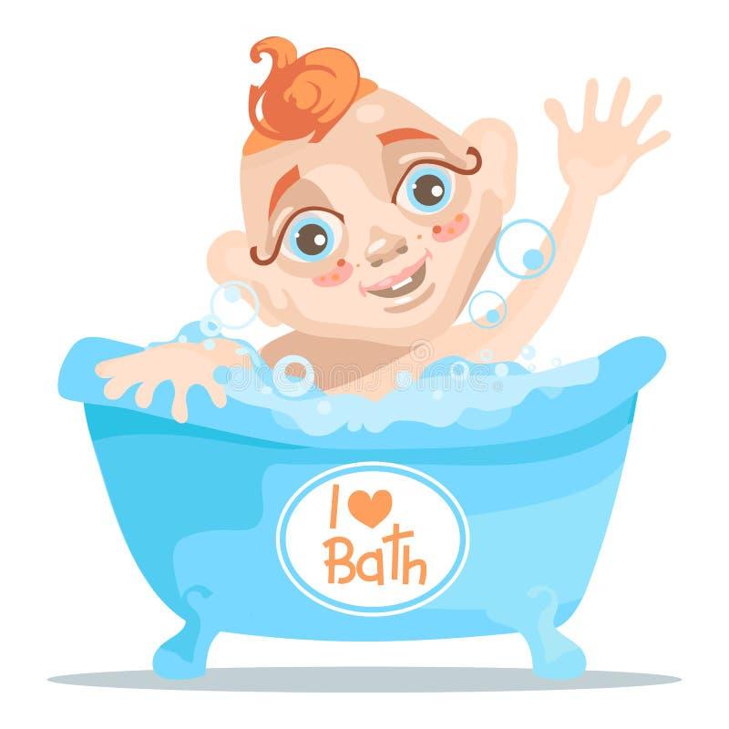 Μωρό στην μπανιέρα με τις φυσαλίδες με τα χέρια επάνω, λατρευτός και χαριτωμένος απεικόνιση αποθεμάτων