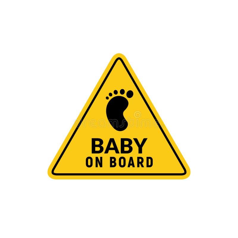 Μωρό στο εικονίδιο σημαδιών Έμβλημα προειδοποίησης αυτοκόλλητων ετικεττών ασφάλειας παιδιών Απεικόνιση σχεδίου ασφάλειας μωρών διανυσματική απεικόνιση