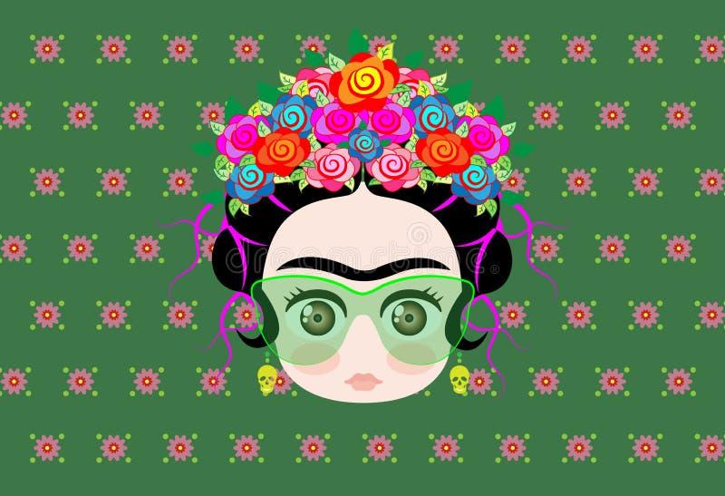 Μωρό Frida Kahlo Emoji με την κορώνα των ζωηρόχρωμων λουλουδιών και των γυαλιών ελεύθερη απεικόνιση δικαιώματος