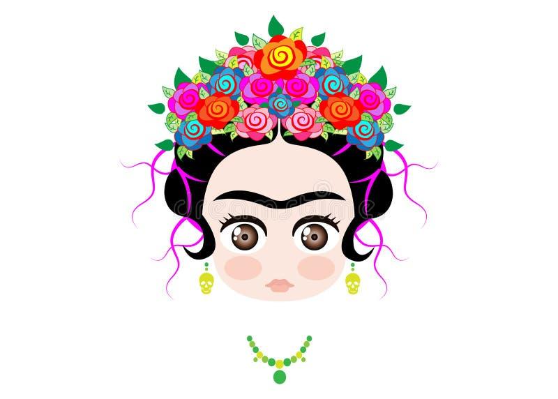 Μωρό Frida Kahlo Emoji με την κορώνα των ζωηρόχρωμων λουλουδιών, που απομονώνεται απεικόνιση αποθεμάτων