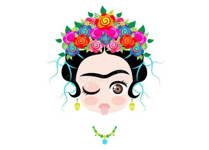 Μωρό Frida Kahlo Emoji στη γλώσσα έξω με την κορώνα και των ζωηρόχρωμων λουλουδιών, που απομονώνονται απεικόνιση αποθεμάτων