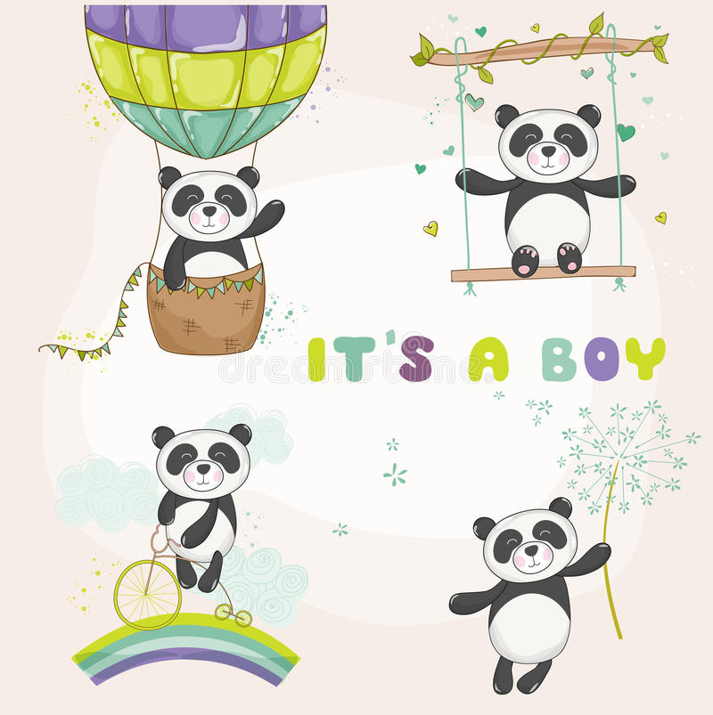 Μωρό Panda καθορισμένη - ντους μωρών ή κάρτα άφιξης διανυσματική απεικόνιση