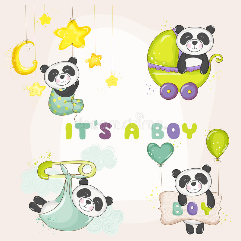 Μωρό Panda που τίθεται - για το ντους μωρών ή τις κάρτες άφιξης μωρών διανυσματική απεικόνιση