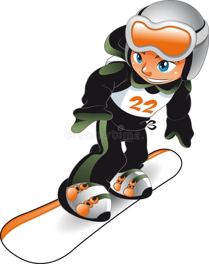 μωρό snowboarder διανυσματική απεικόνιση