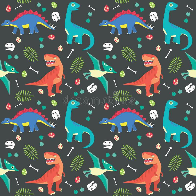Μωρών δεινοσαύρων άνευ ραφής σκοτεινό υπόβαθρο απεικόνισης σχεδίων ζωηρόχρωμο διανυσματικό στοκ εικόνες