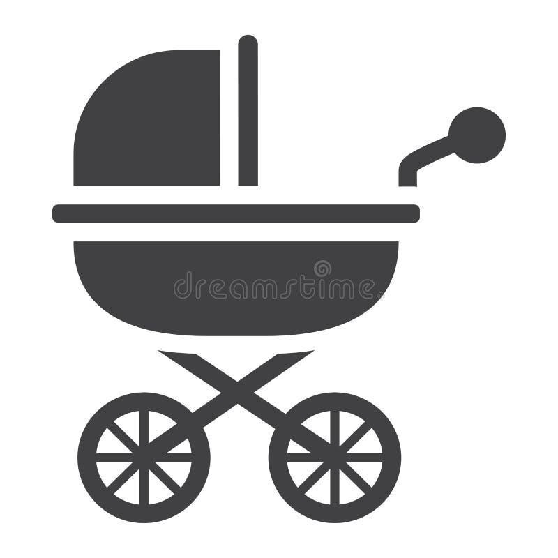 Μωρών εικονίδιο, καροτσάκι και καροτσάκι μεταφορών στερεό διανυσματική απεικόνιση