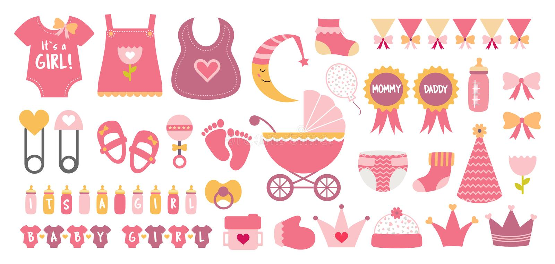 Μωρών ντους ρόδινα χρώματα κρητιδογραφιών εικονιδίων διανυσματικά καθορισμένα απεικόνιση αποθεμάτων