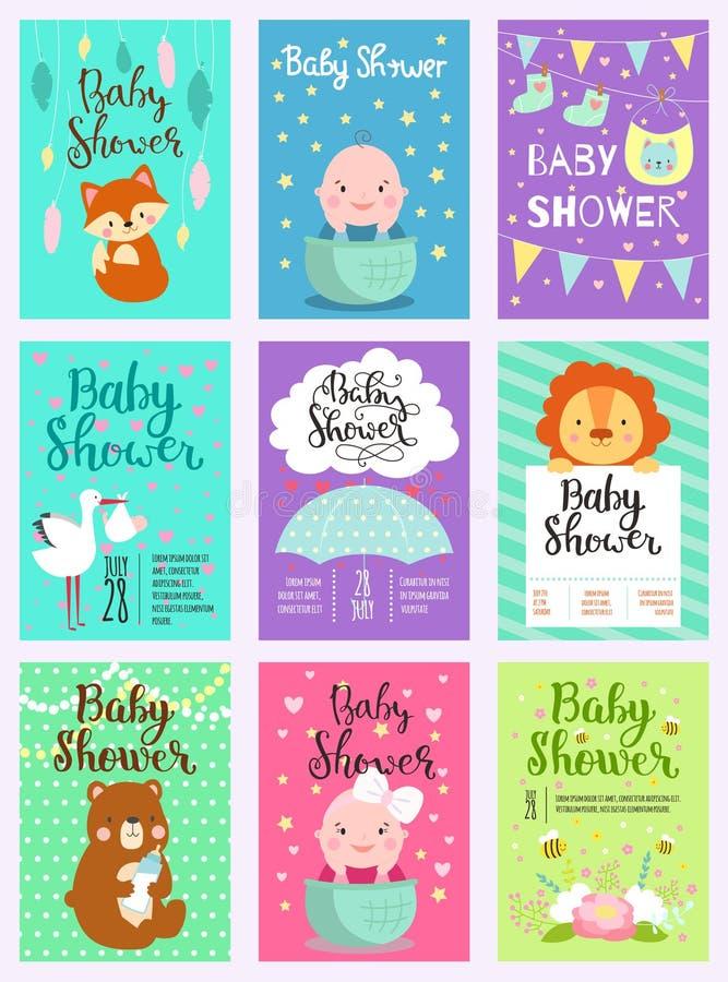 Μωρών ντους σχεδίου γεννημένη άφιξη ζώων καρτών χαριτωμένη δασόβια γραφική Εκλεκτής ποιότητας χαριτωμένο ντους μωρών γέννησης προ διανυσματική απεικόνιση