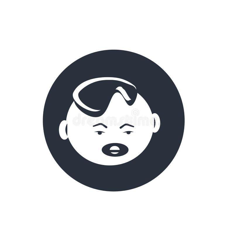 Μωρών προσώπου σημάδι και σύμβολο εικονιδίων διανυσματικό που απομονώνονται στο άσπρο υπόβαθρο, έννοια λογότυπων προσώπου μωρών διανυσματική απεικόνιση