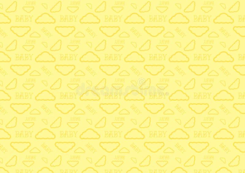Μωρών ύπνου πλήρες resizable editable διάνυσμα σχεδίων χρονικών σύννεφων άνευ ραφής στο μαλακό κίτρινο χρώμα κρητιδογραφιών απεικόνιση αποθεμάτων
