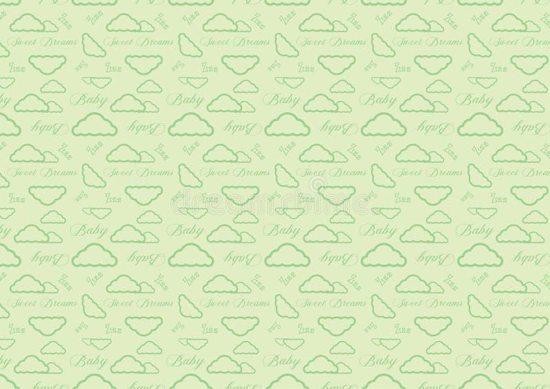 Μωρών ύπνου πλήρες resizable editable διάνυσμα σχεδίων χρονικών σύννεφων άνευ ραφής στο μαλακό πράσινο χρώμα κρητιδογραφιών ελεύθερη απεικόνιση δικαιώματος
