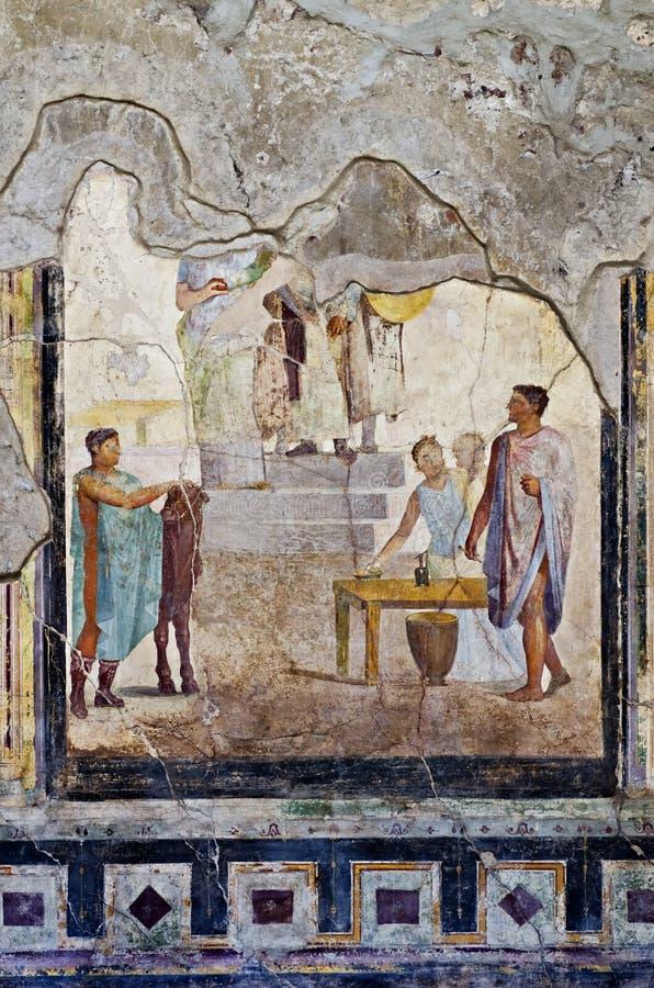 Μωσαϊκό και σπίτι νωπογραφίας στην Πομπηία στοκ εικόνες