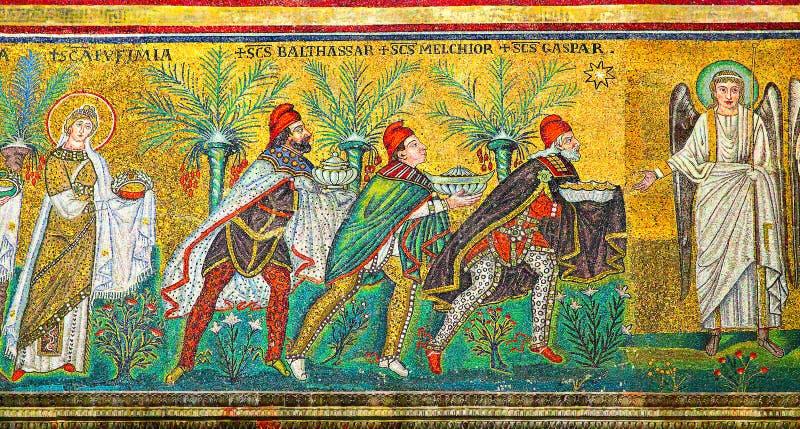 Μωσαϊκό με τρεις μάγους στοκ εικόνα